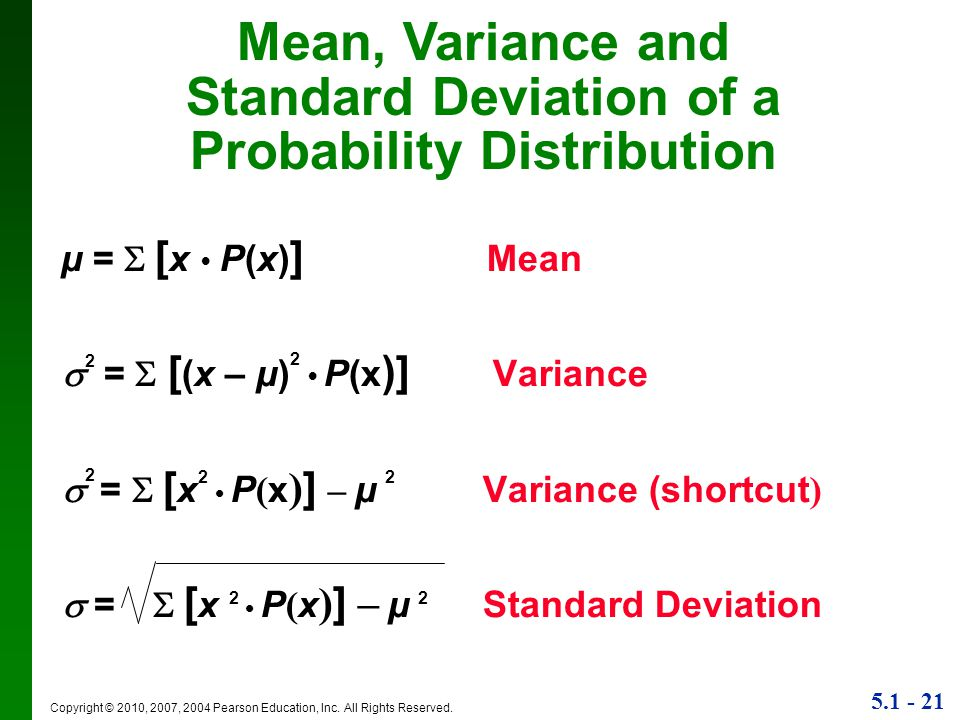 Standard Deviation of a Probability Distribution