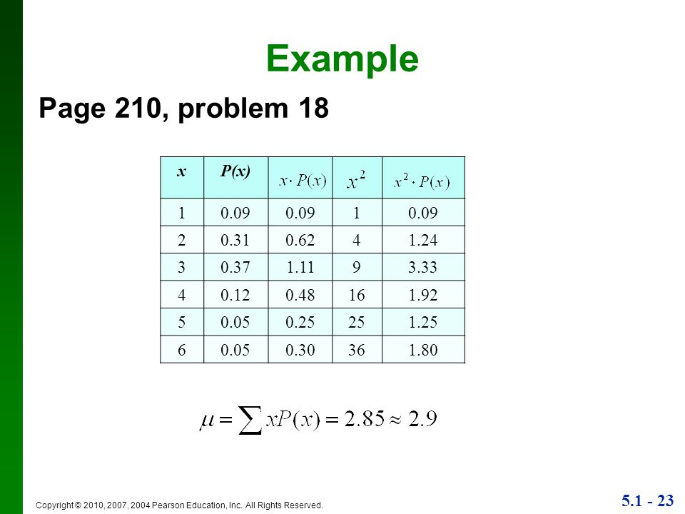 Example Page 210, problem 18 x P(x) 1 0.09 2 0.31 0.62 4 1.24 3 0.37