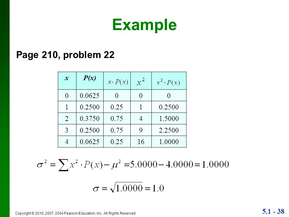 Example Page 210, problem 22 x P(x) 0.0625 1 0.2500 0.25 2 0.3750 0.75