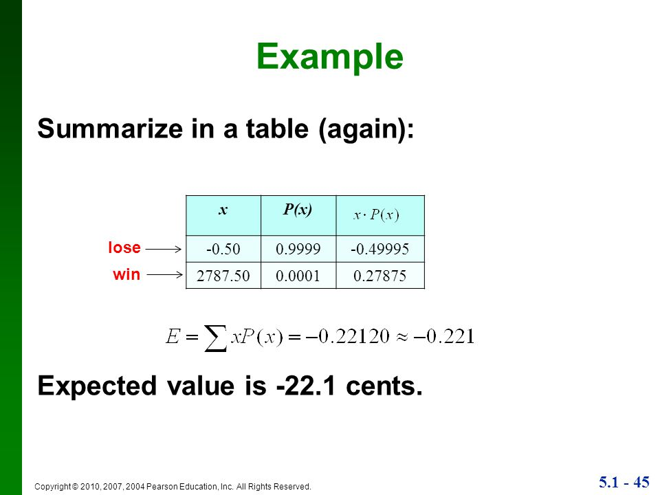 Example Summarize in a table (again): Expected value is -22.1 cents. x