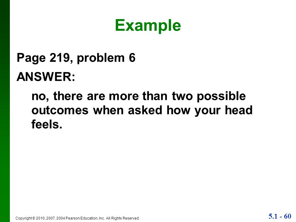 Example Page 219, problem 6 ANSWER: