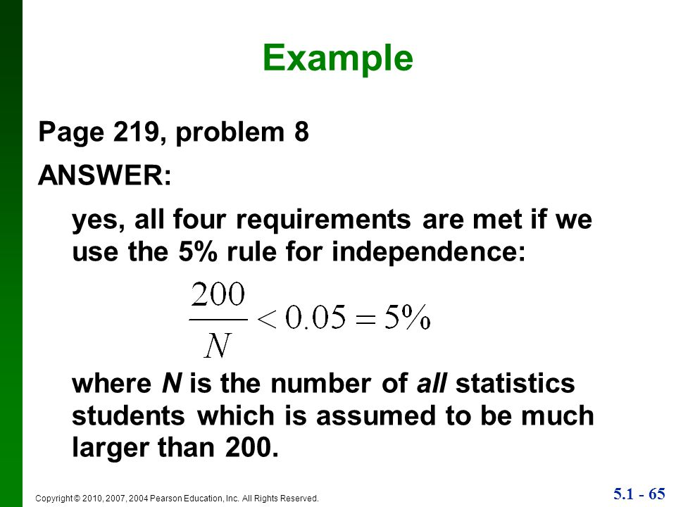 Example Page 219, problem 8 ANSWER: