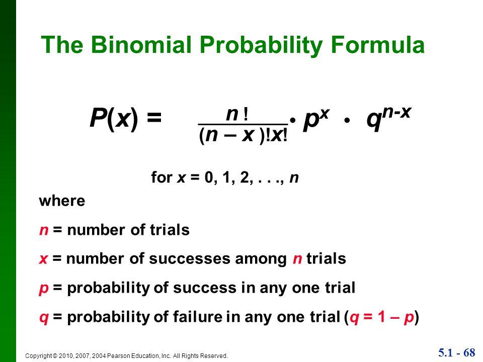 P(x) = • px • qn-x The Binomial Probability Formula n ! (n – x )!x!