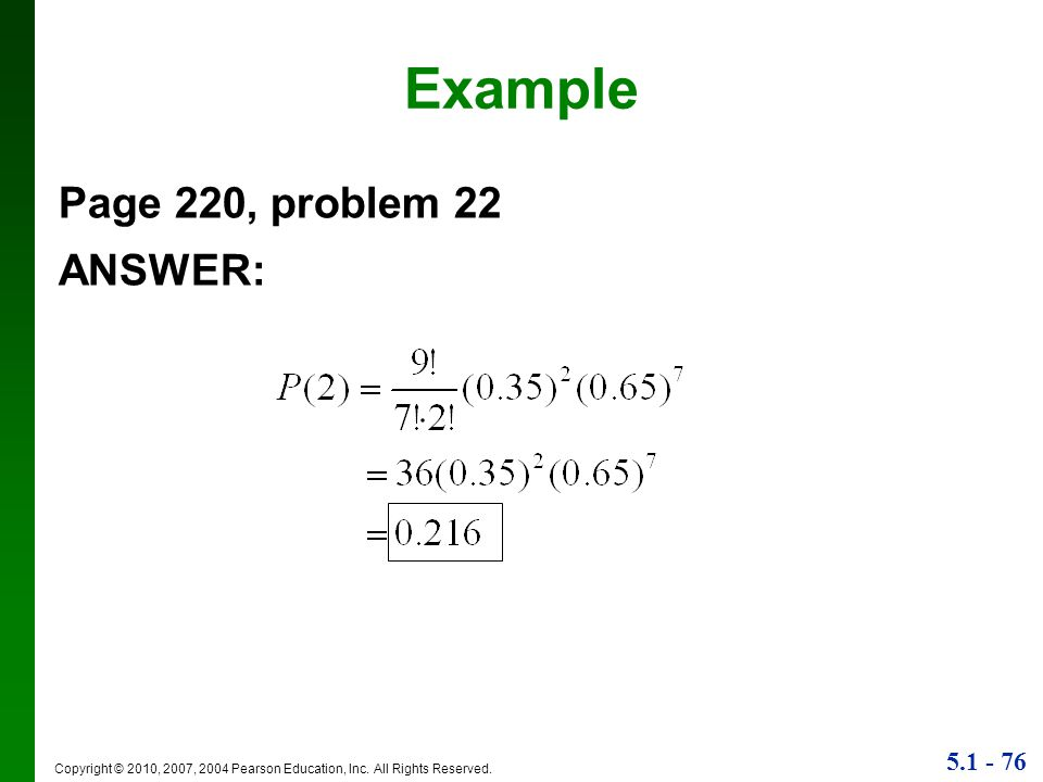 Example Page 220, problem 22 ANSWER: