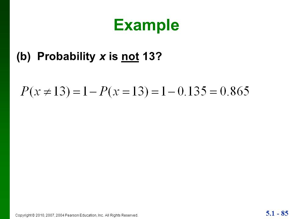 Example (b) Probability x is not 13