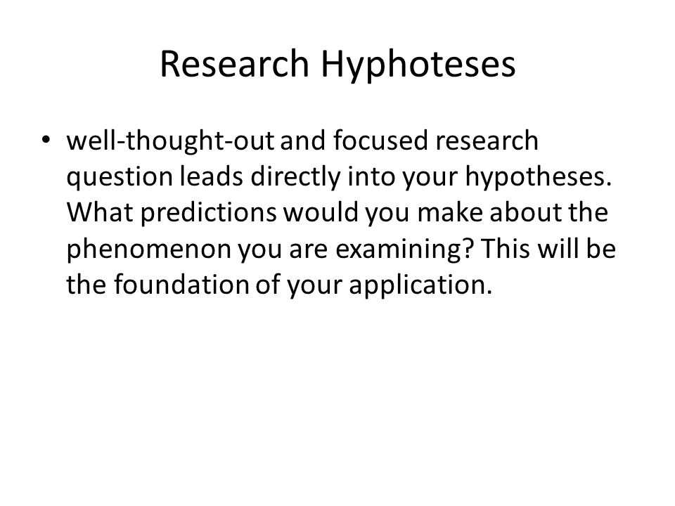 Research Hyphoteses
