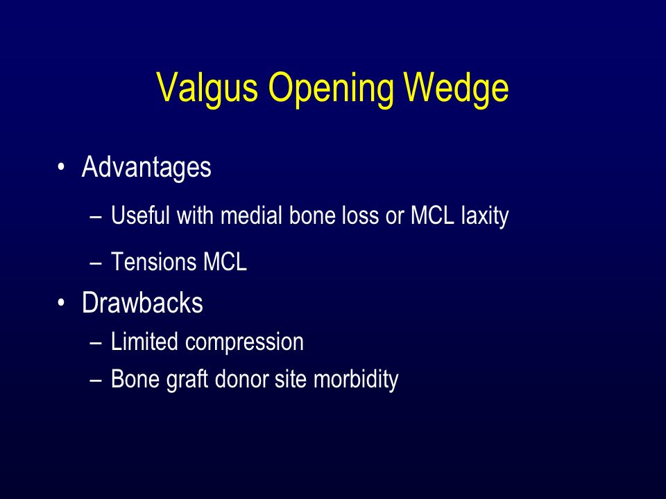 Valgus Opening Wedge Advantages Drawbacks