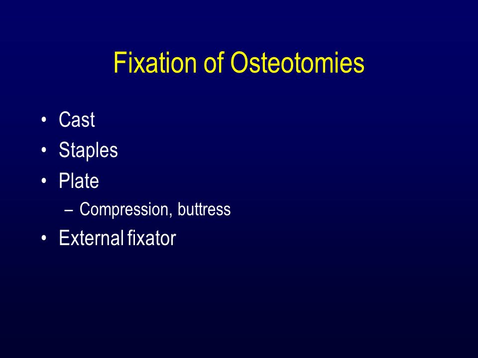 Fixation of Osteotomies