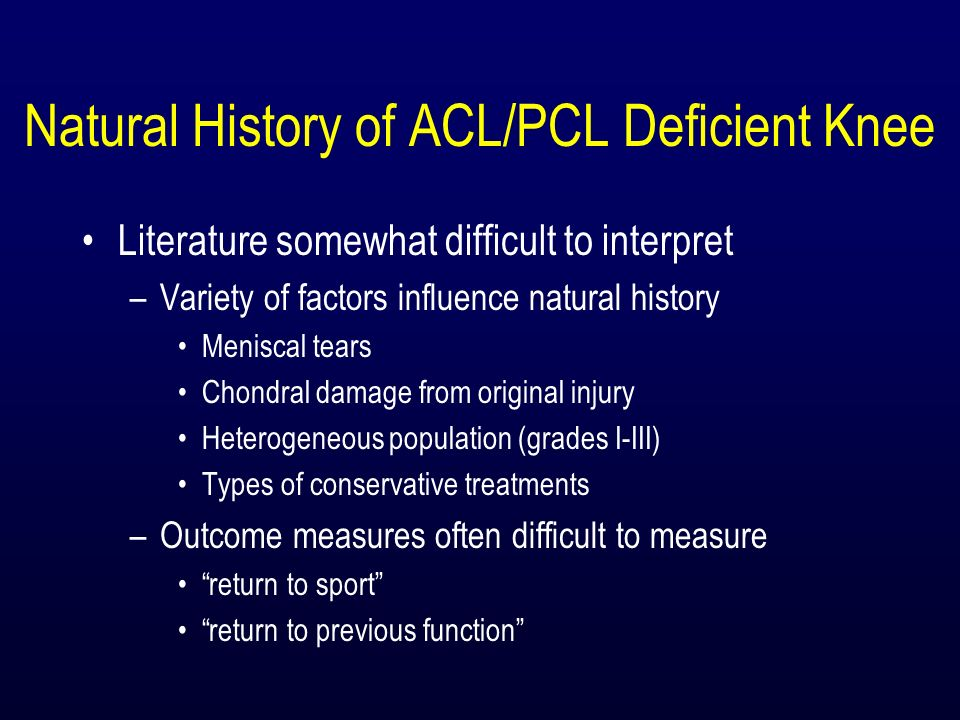 Natural History of ACL/PCL Deficient Knee