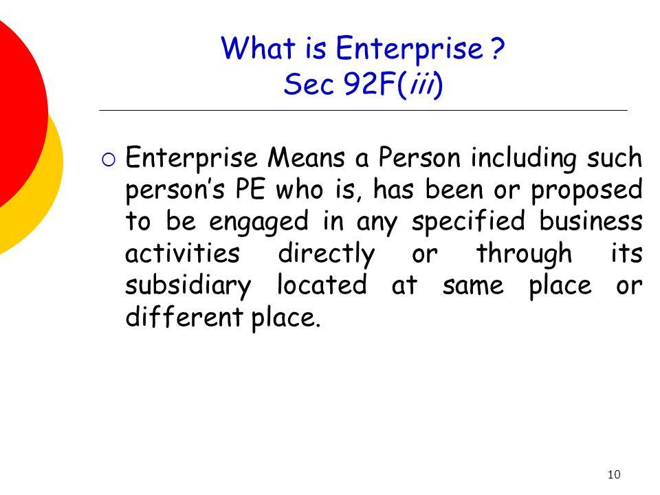 What is Enterprise Sec 92F(iii)