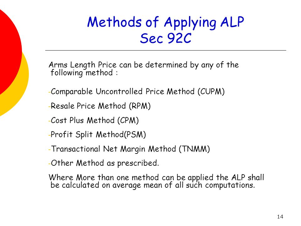 Methods of Applying ALP Sec 92C