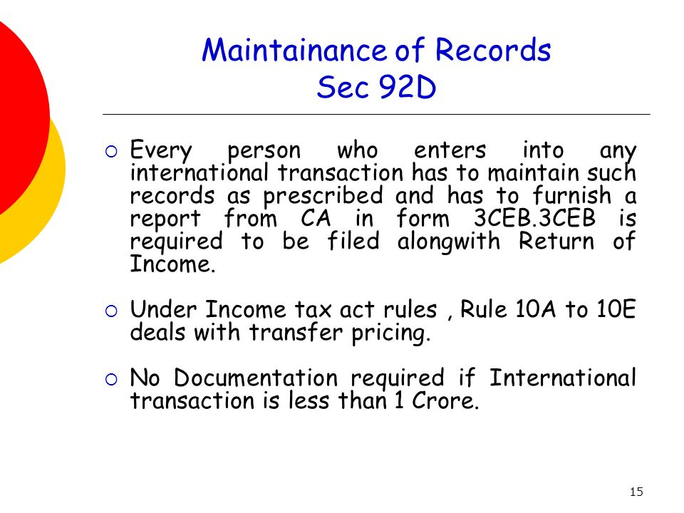 Maintainance of Records Sec 92D