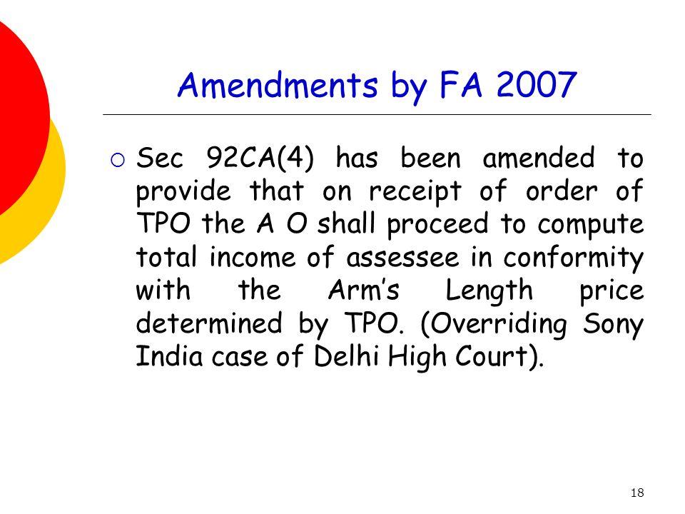 Amendments by FA 2007