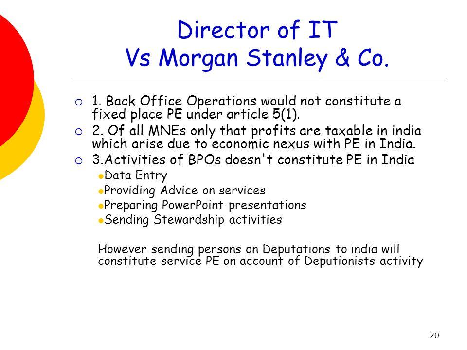 Director of IT Vs Morgan Stanley & Co.
