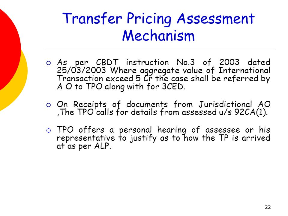 Transfer Pricing Assessment Mechanism
