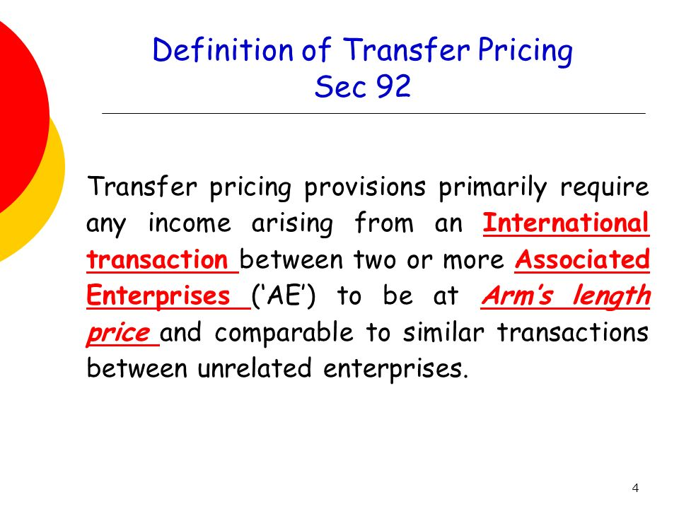 Definition of Transfer Pricing Sec 92