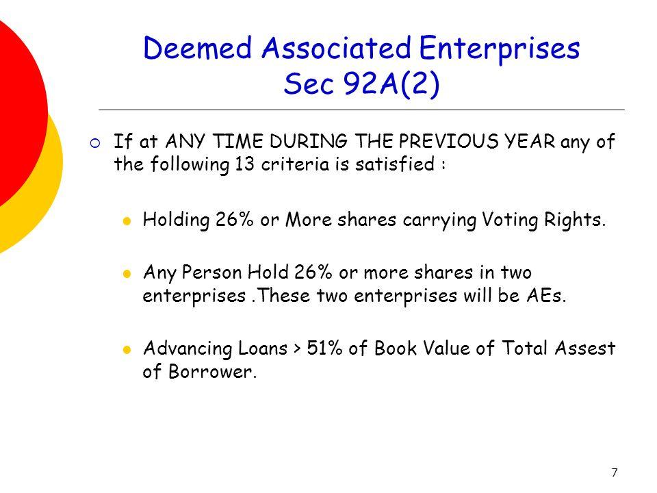 Deemed Associated Enterprises Sec 92A(2)