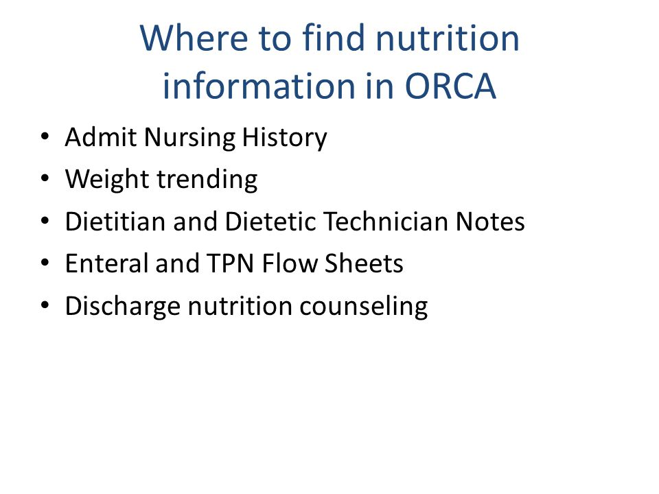 Where to find nutrition information in ORCA