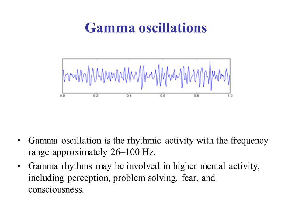 Gamma oscillations Gamma oscillation is the rhythmic activity with the frequency range approximately 26–100 Hz.