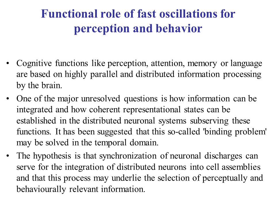 Functional role of fast oscillations for perception and behavior