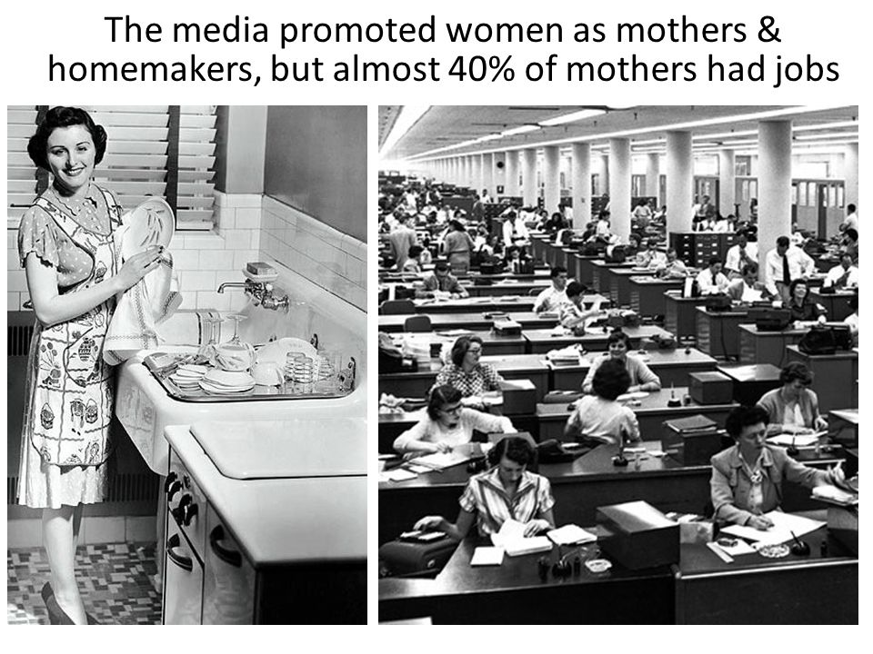 The media promoted women as mothers & homemakers, but almost 40% of mothers had jobs