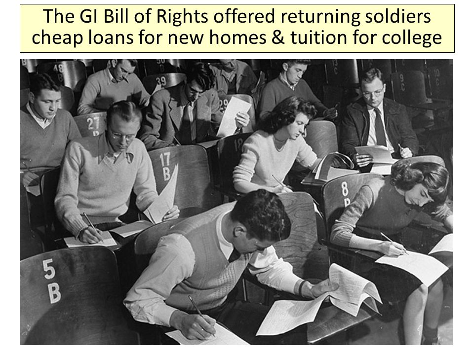 The GI Bill of Rights offered returning soldiers cheap loans for new homes & tuition for college