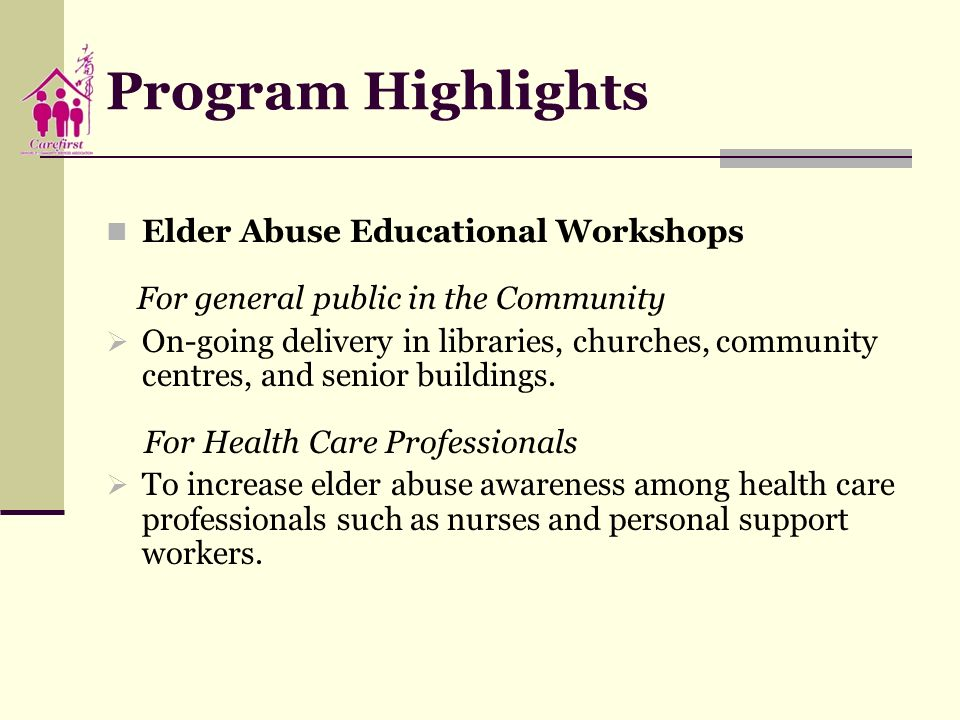 Program Highlights Elder Abuse Educational Workshops