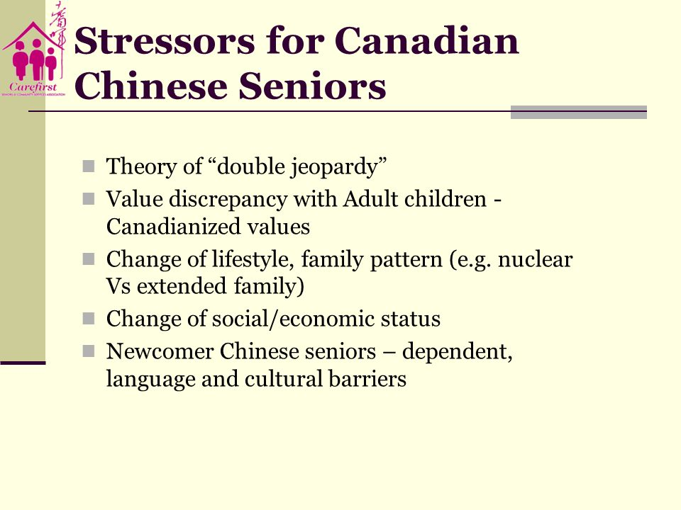 Stressors for Canadian Chinese Seniors