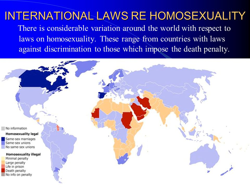 INTERNATIONAL LAWS RE HOMOSEXUALITY