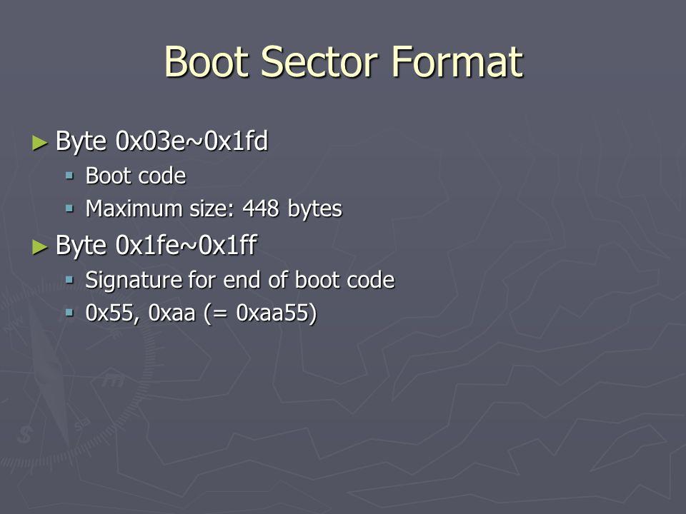 Boot Sector Format Byte 0x03e~0x1fd Byte 0x1fe~0x1ff Boot code