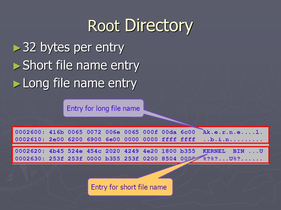 Root Directory 32 bytes per entry Short file name entry