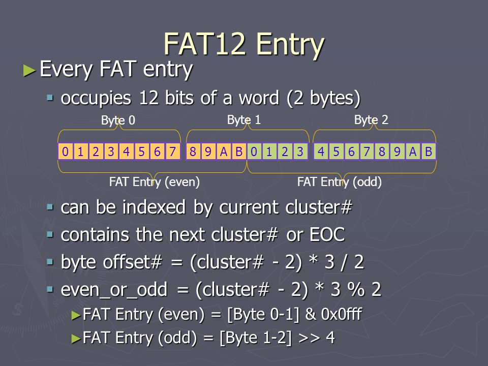 FAT12 Entry Every FAT entry occupies 12 bits of a word (2 bytes)