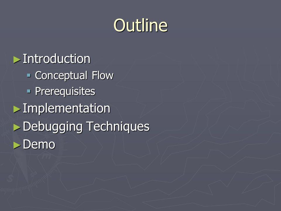 Outline Introduction Implementation Debugging Techniques Demo