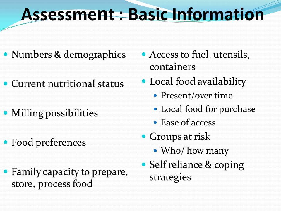 Assessment : Basic Information