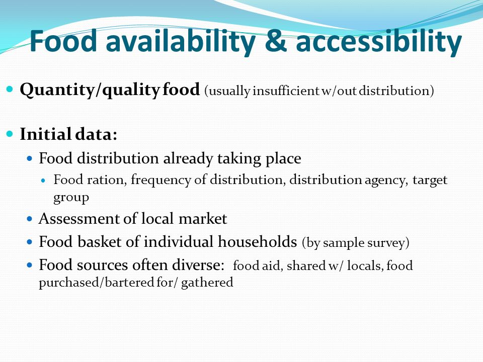 Food availability & accessibility