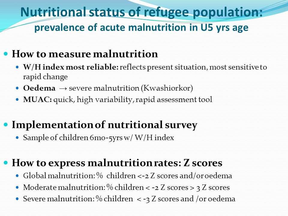 Nutritional status of refugee population: prevalence of acute malnutrition in U5 yrs age
