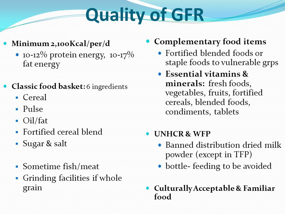 Quality of GFR Complementary food items