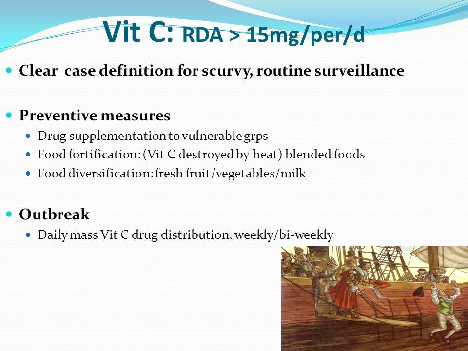 Vit C: RDA > 15mg/per/d