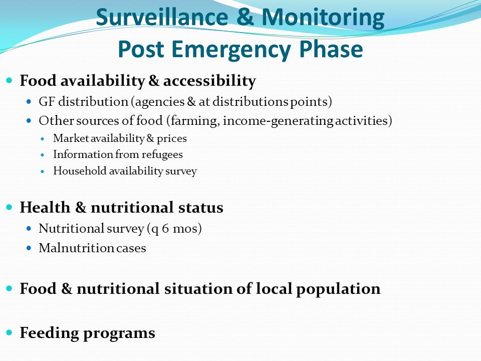 Surveillance & Monitoring Post Emergency Phase