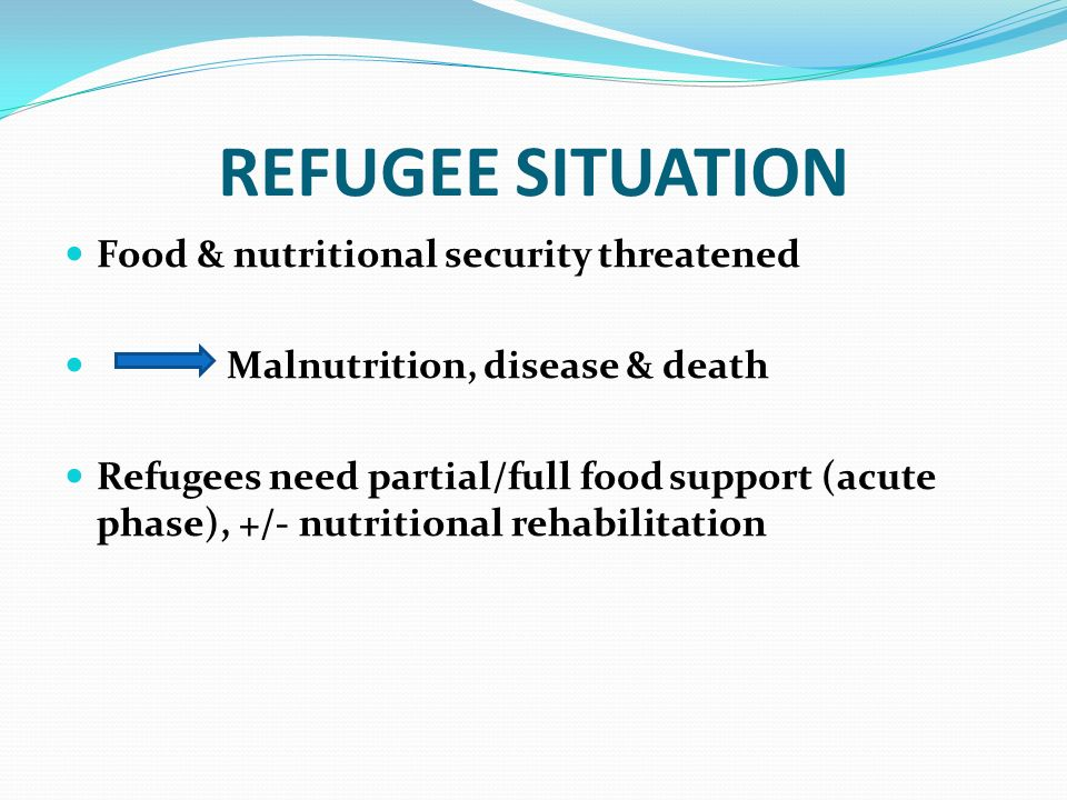 REFUGEE SITUATION Food & nutritional security threatened
