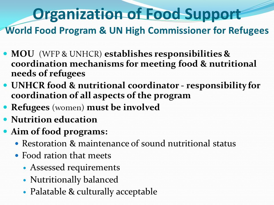Organization of Food Support World Food Program & UN High Commissioner for Refugees