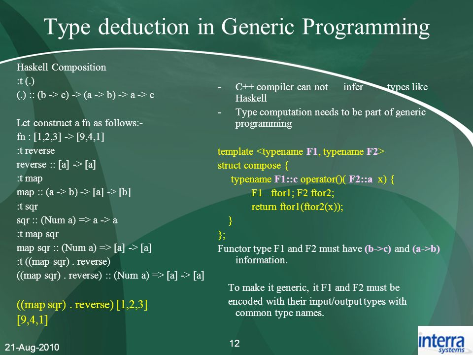 Type deduction in Generic Programming