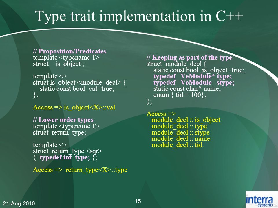 Type trait implementation in C++