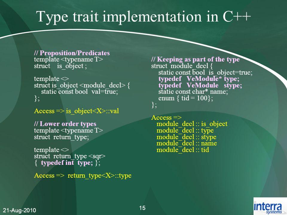 Type trait implementation in C++