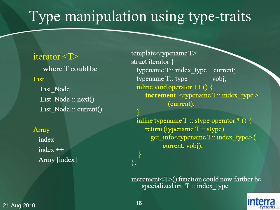 Type manipulation using type-traits