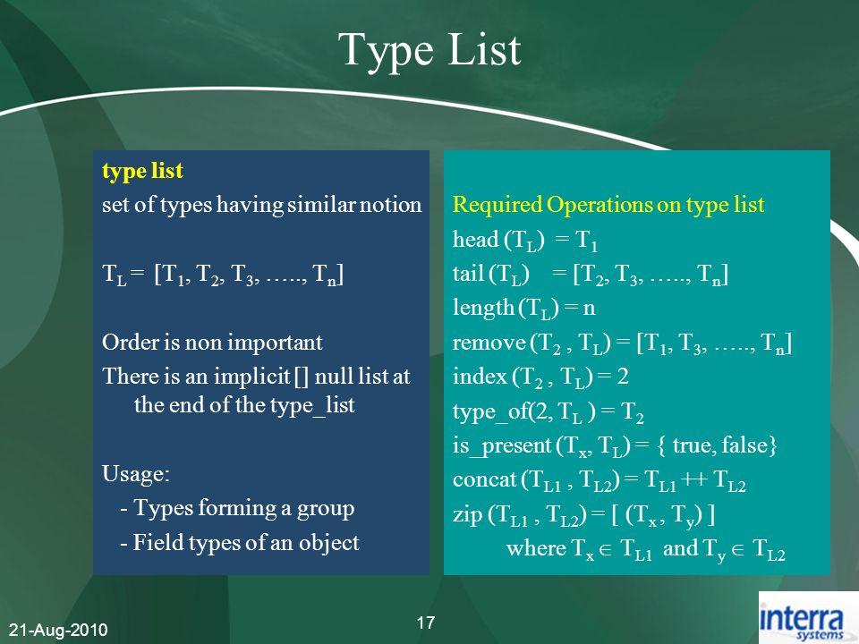 Type List type list set of types having similar notion