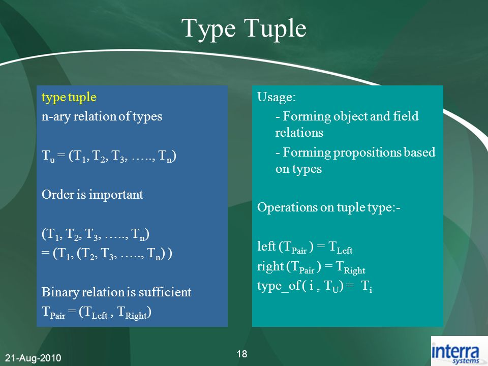 Type Tuple type tuple n-ary relation of types