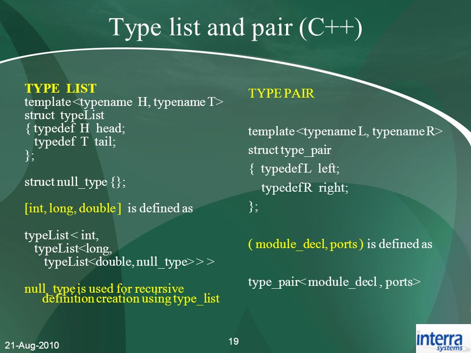 Type list and pair (C++)