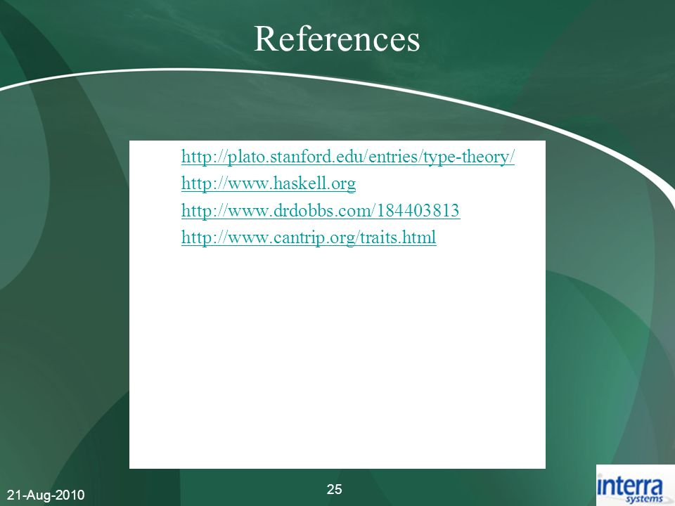 References http://plato.stanford.edu/entries/type-theory/