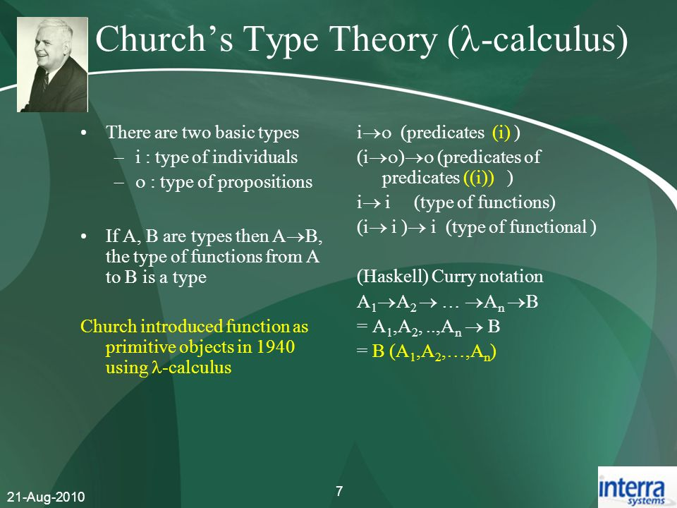 Church's Type Theory (-calculus)